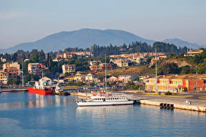 Фотографии Греция Здания Пирсы Корабли Залив Corfu Города