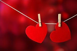 Фотография Сердца Красные Два Прищепки