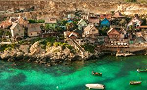 Картинка Здания Берег Лодки Мальта Село Popeye Village город