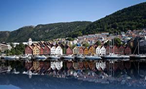 Обои Дома Побережье Норвегия Берген Bryggen Города
