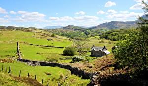 Картинки Дома Луга Великобритания Парк Холмы Уэльс Snowdonia national Park