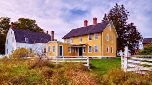 Картинки Дома Штаты Село Трава Ограда Shaker Village Of Canterbury, New Hampshire город