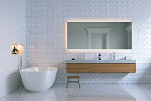 Обои Интерьер Дизайн Ванная Зеркало 3D Графика