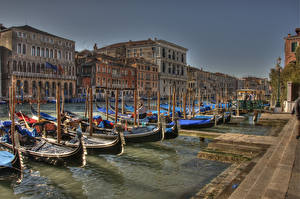 Фотография Италия Дома Лодки Причалы Венеция Водный канал HDRI город