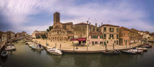 Фото Италия Здания Речка Причалы Мост Катера Murano Города