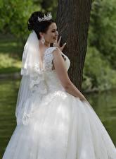 Обои для рабочего стола Украшения Корона Платья Брюнетка Улыбается Невеста Свадебные Девушки