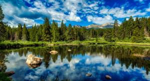 Фотография Озеро Камни Леса США Пейзаж HDRI Colorado