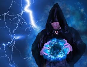 Фотографии Колдун Магия Bitcoin Мужчины Молния Капюшон