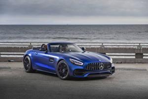 Обои Mercedes-Benz Синий Родстер 2020 GT C Roadster Автомобили