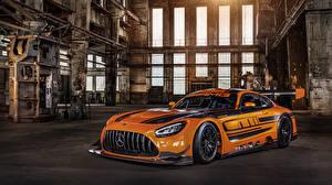 Картинки Мерседес бенц Стайлинг Оранжевая Металлик 2019 AMG GT3 авто