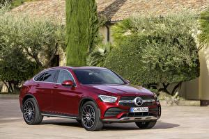 Обои Мерседес бенц Бордовая Купе Металлик 2019 GLC 300 4MATIC AMG Line Coupé Worldwide авто