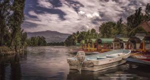 Фотографии Мексика Вечер Причалы Речка Лодки Xochimilco Природа