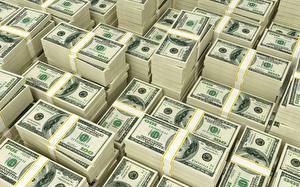 Картинки Деньги Купюры Доллары 100 3D Графика