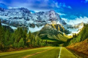 Обои Горы Леса Дороги Канада Парки Скалы Снеге Асфальта Банф Природа
