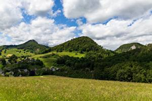 Фото Горы Лес Швейцария Пейзаж Траве Canton of Basel-Landschaft Природа