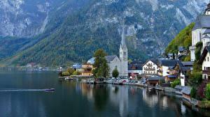 Фото Горы Озеро Катера Церковь Осень Австрия Халльштатт Gmunden County, Lake Hallstatt Города
