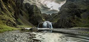 Обои Гора Река Камни Водопады Скале Природа