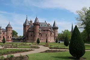 Обои Нидерланды Замки Газоне De Haar Castle Города