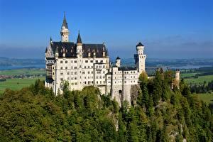 Фотография Нойшванштайн Германия Замок Лето Леса Бавария Города