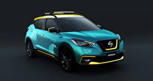 Обои Nissan Серый фон Голубые 2019 Kicks Surf Concept авто