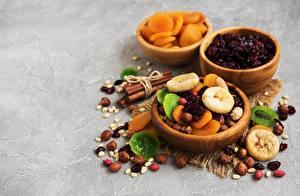 Обои Орехи Сушеные абрикосы Миска Сухофруктов Продукты питания