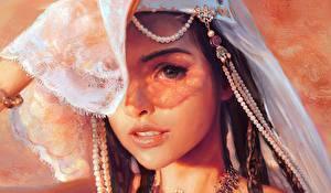 Картинка Рисованные Жемчуг Взгляд Красивые Лицо Mandy Jurgens молодые женщины