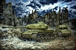 Фотография Рисованные Танки Российские IS-2