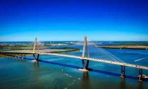 Обои Реки Мосты США Ravenel Bridge, Cooper river, South Carolina Природа