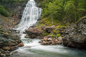 Фотографии Река Камни Водопады Скала Природа