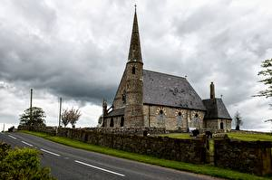 Фото Дороги Церковь Ирландия Забор St Patrick's Church, Ballyclog, Tyrone County Города