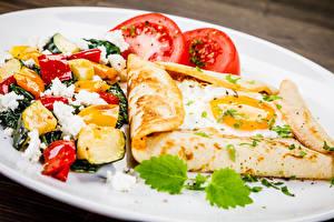 Картинка Салаты Овощи Блины Завтрак Глазунья