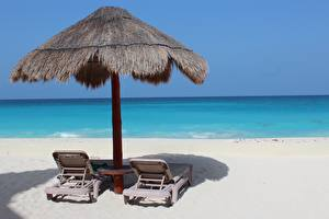 Фотографии Море Мексика Шезлонг Пляже Песок Cancun Природа