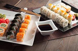 Картинки Морепродукты Суши Рис Палочки для еды Миска Соевый соус