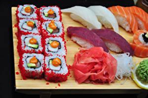 Фото Морепродукты Суши Рис Рыба Икра Еда