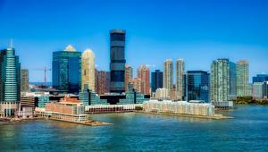 Картинка Небоскребы США Дома Мегаполис Заливы Jersey city, New Jersey Города