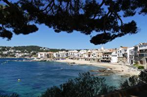 Фотография Испания Берег Здания На ветке Пляже Costa Brava, province of Girona Города