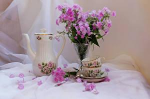 Обои Натюрморт Флоксы Чайник Вазе Чашка Лепестки