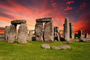 Фотографии Камни Англия Трава Wiltshire