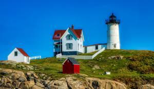 Картинка Камень Маяк Здания США Cape Neddick, Maine город