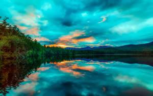 Фотография Рассветы и закаты США Озеро Пейзаж Chocorua Lake, New Hampshire Природа