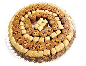 Фото Сладкая еда Белом фоне Baklava Еда