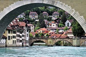 Картинки Швейцария Берн Мост Речка Дома Арки river Aare город