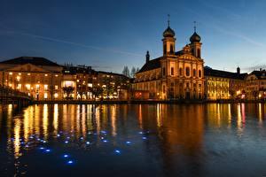 Фотографии Швейцария Вечер Рассветы и закаты Церковь Уличные фонари Lucerne, Festival of lights, Jesuit Church of St. Francis Xavier Города