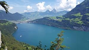 Фотографии Швейцария Озеро Горы Пейзаж Brunnen, Canton of Schwyz, Lake Lucerne Природа