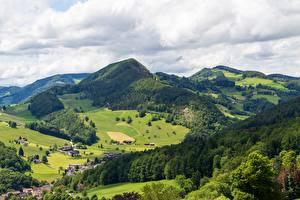 Фотография Швейцария Горы Лес Деревня Waldenburg County, Langenbruck, Basel Landschaft Природа
