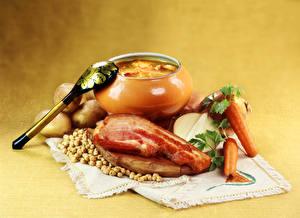 Обои Скатерть Натюрморт Супы Овощи Бекон Продукты питания