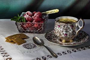 Фото Чай Ягоды Малина Сахарная пудра Чашке Ложка Пища