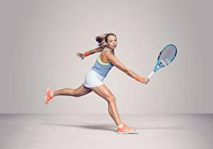 Фото Теннис Бежит Ноги Рука Серый фон Anett Kontaveit Estonian Девушки