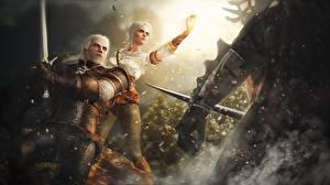 Фотография The Witcher 3: Wild Hunt Геральт из Ривии Воины Fan ART Ciri компьютерная игра Девушки Фэнтези