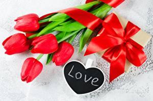Картинка Тюльпаны Любовь Красных Подарки Бантик Английская цветок
